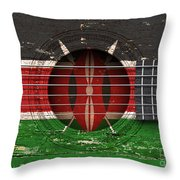 Flag Of Kenya On An Old Vintage Acoustic Guitar Throw Pillow