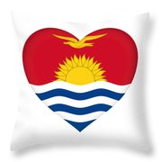 Flag Of Kiribati Heart Throw Pillow