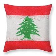 Flag Of Lebanon Grunge Throw Pillow