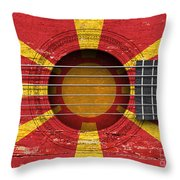 Flag Of Macedonia On An Old Vintage Acoustic Guitar Throw Pillow