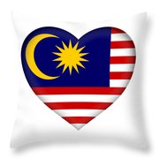 Flag Of  Malaysia Heart Throw Pillow