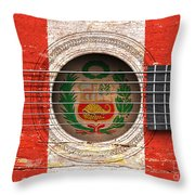 Flag Of Peru On An Old Vintage Acoustic Guitar Throw Pillow