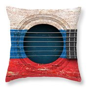 Flag Of Russia On An Old Vintage Acoustic Guitar Throw Pillow