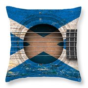 Flag Of Scotland On An Old Vintage Acoustic Guitar Throw Pillow