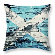 flag of Scotland painted on old brick wall Throw Pillow