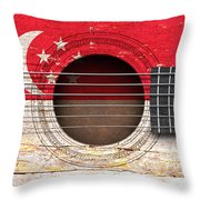 Flag Of Singapore On An Old Vintage Acoustic Guitar Throw Pillow