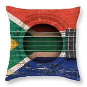 Flag Of South Africa On An Old Vintage Acoustic Guitar Throw Pillow