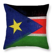 Flag Of  South Sudan Grunge Throw Pillow