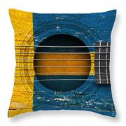 Flag Of Sweden On An Old Vintage Acoustic Guitar Throw Pillow