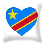Flag Of The Congo Heart Throw Pillow