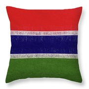 Flag Of The Gambia Grunge. Throw Pillow