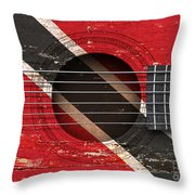 Flag Of Trinidad And Tobago On An Old Vintage Acoustic Guitar Throw Pillow