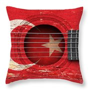 Flag Of Turkey On An Old Vintage Acoustic Guitar Throw Pillow