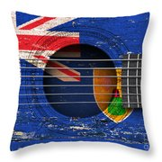 Flag Of Turks And Caicos On An Old Vintage Acoustic Guitar Throw Pillow