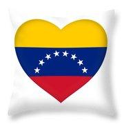 Flag Of Venezuela Heart  Throw Pillow