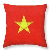 Flag Of Vietnam Grunge Throw Pillow