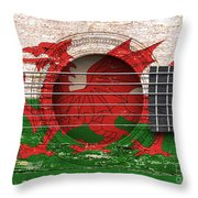 Flag Of Wales On An Old Vintage Acoustic Guitar Throw Pillow