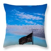 Flag With The Clouds Throw Pillow