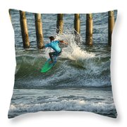 Flagler Beach Surf Day Throw Pillow