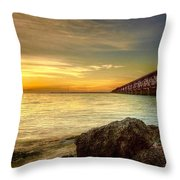 Flagler Bridge At Sunset Throw Pillow
