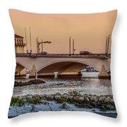 Flagler Bridge In The Evening IIi Throw Pillow