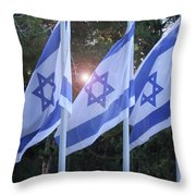 Flags Of Israel Blowing In The Wind Throw Pillow