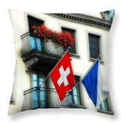Flags Of Switzerland And Zurich Throw Pillow