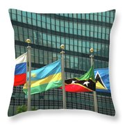 Flags Of Various Nations Outside The United Nations Building. Throw Pillow