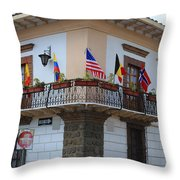 Flags On A Balcony Throw Pillow