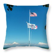 Flags On The Shoreline Throw Pillow