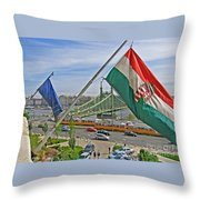 Flags Over Budapest Throw Pillow
