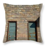 Flagstone Wall And Two Green Doors Throw Pillow