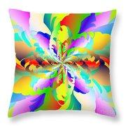 Flamboyant Fractal Fire Flower Throw Pillow