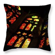 Flamboyant Stained Glass Window Throw Pillow