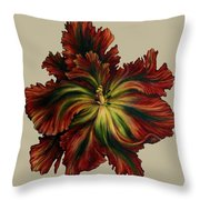 Flame Red Tulip II Throw Pillow
