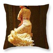 Flamenco Dancer #20 - The White Dress Throw Pillow