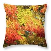 Flaming Autumn Leaves Art Throw Pillow