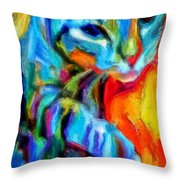 Flaming Blue And Orange Kitty Cat Tiger Resting Gently From The Prowl Throw Pillow