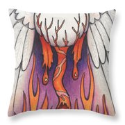 Flaming Flying Eyeball Throw Pillow