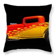 Flaming Hot Rod Throw Pillow