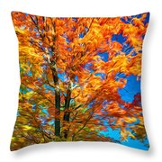 Flaming Maple - Paint Throw Pillow