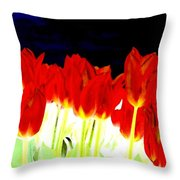 Flaming Red Tulips Throw Pillow