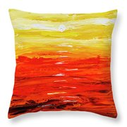 Flaming Sunset Abstract 205173 Throw Pillow by Mas Art Studio