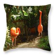 Flamingo Duo Throw Pillow