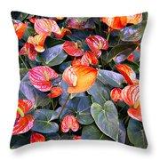 Flamingo Flower Bed Throw Pillow