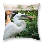 Flamingo Gardens - Great Egret Profile Throw Pillow