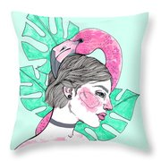 Flamingo Girl Throw Pillow