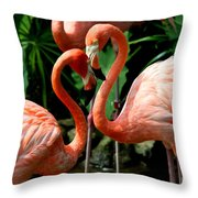 Flamingo Heart Throw Pillow