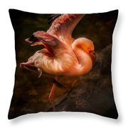 Flamingo In Darkness Throw Pillow