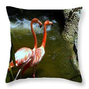 Flamingo Pair Throw Pillow